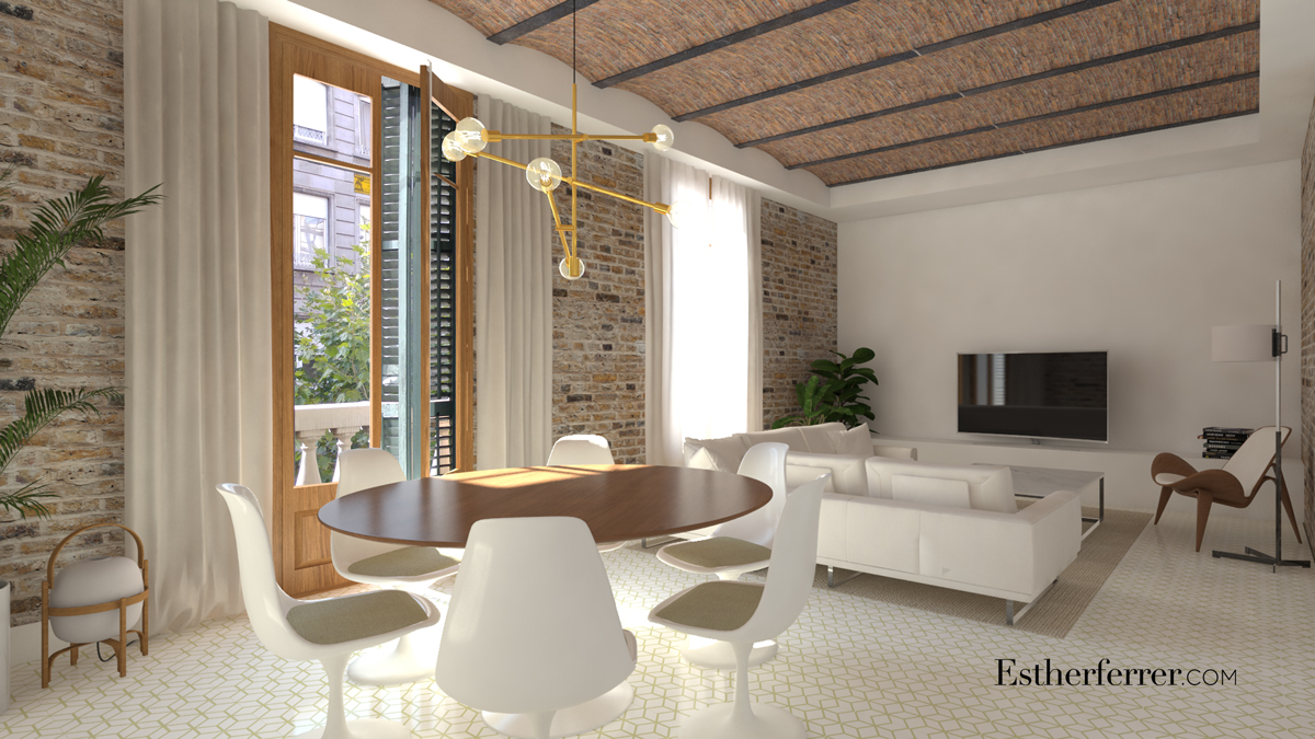 render de interior modernista