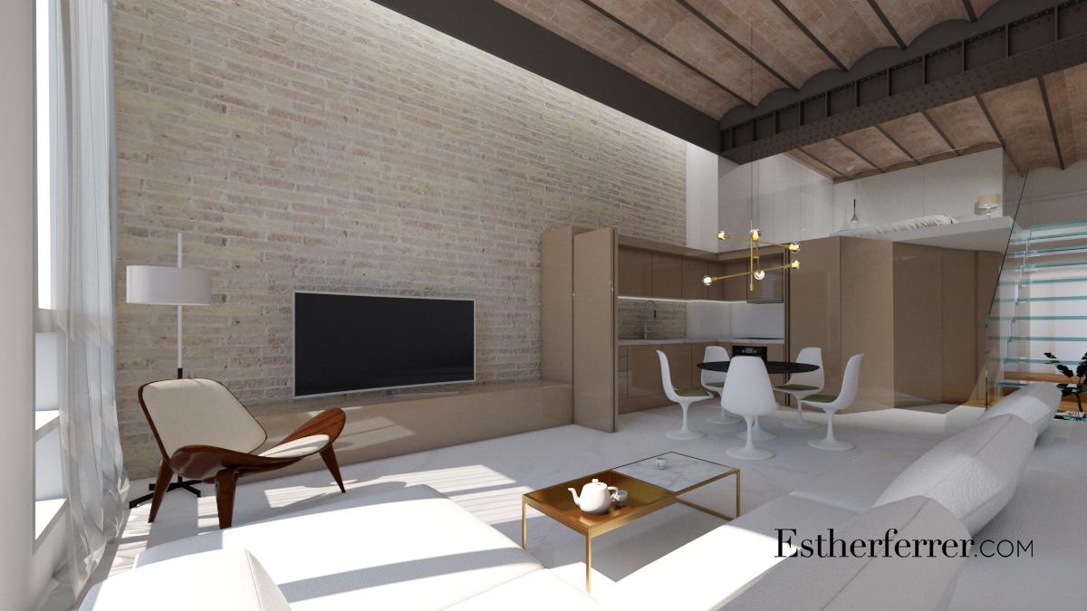 apartamento en Passeig de Gràcia en doble altura con elementos originales