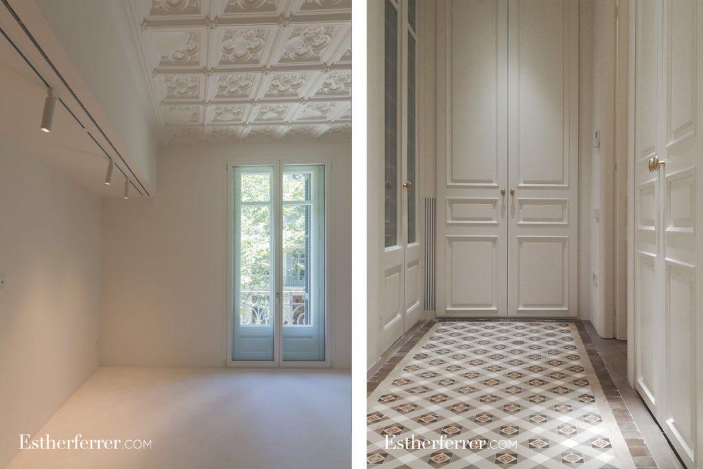 cómo reformar un piso modernista en barcelona sin estropearlo: rejas de impulsión y retorno del aire acondicionado integradas en los acabados