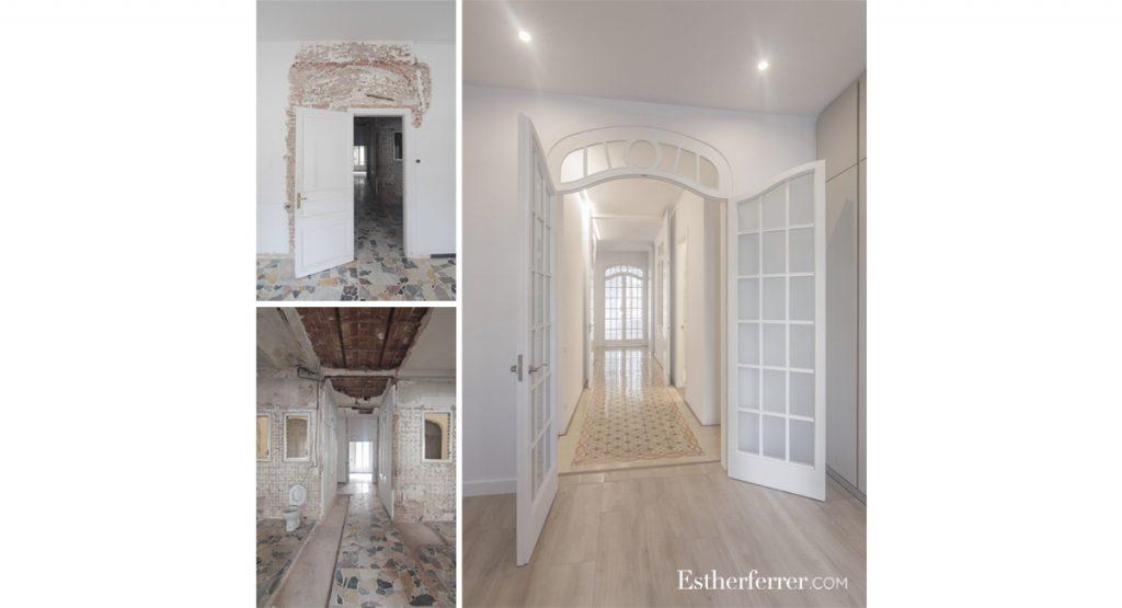 cómo reformar un piso modernista en barcelona sin estropearlo: puertas de madera