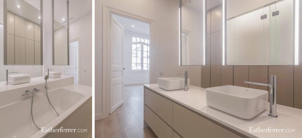 cómo reformar un piso modernista en barcelona sin estropearlo: baño y vestidor en suite