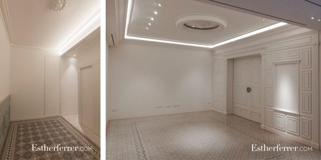 cómo reformar un piso modernista en Barcelona sin estropearlo: cornisas y leds