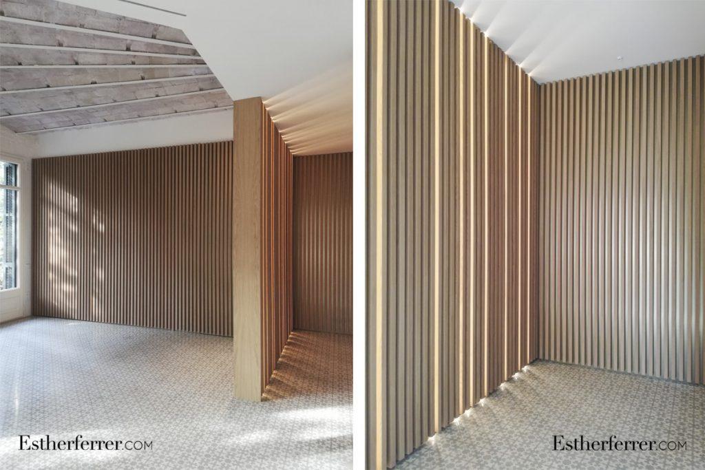 cómo reformar un piso modernista en barcelona sin estropearlo: costillas de madera y leds