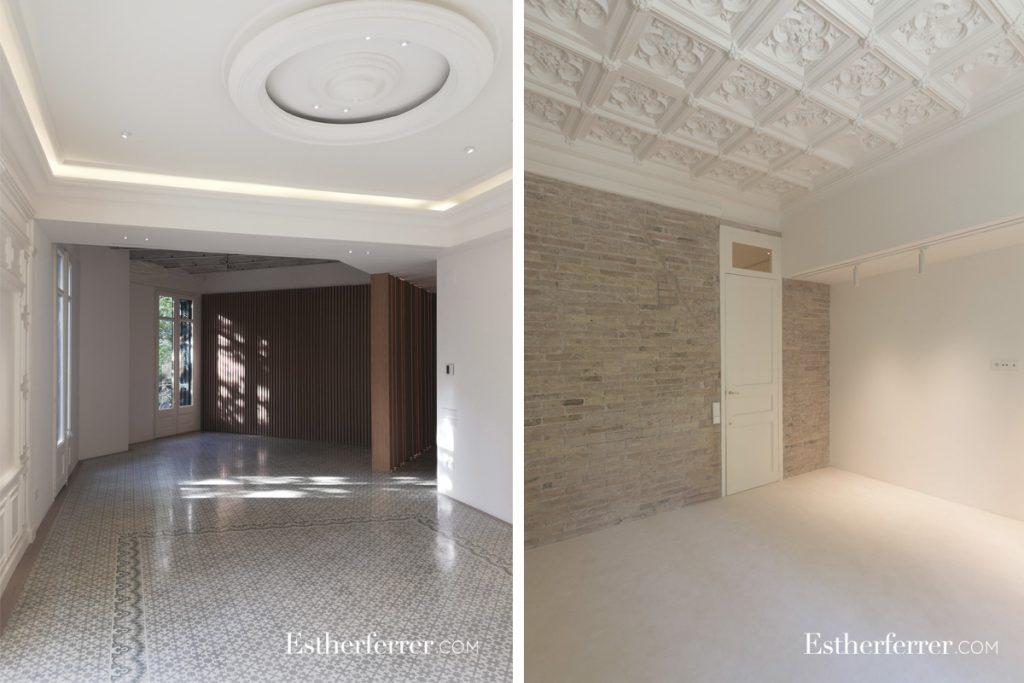 cómo reformar un piso modernista en barcelona sin estropearlo: techos artesonados y con molduras noucentistes