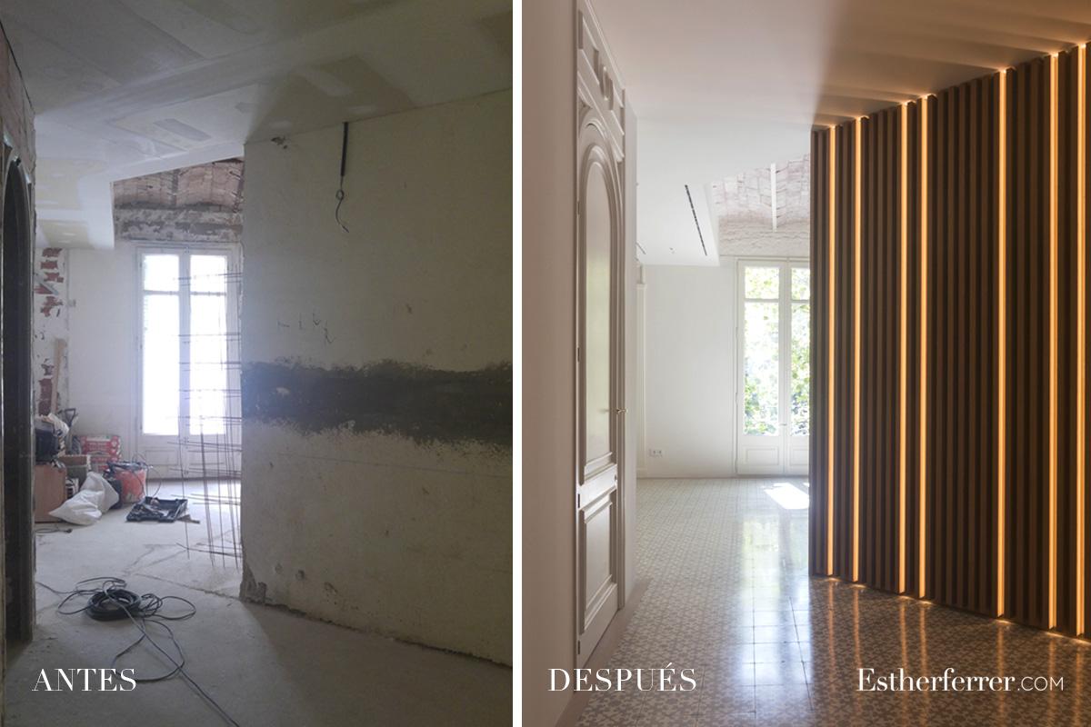 Reforma integral de piso modernista en l'Eixample. antes después vestíbulo