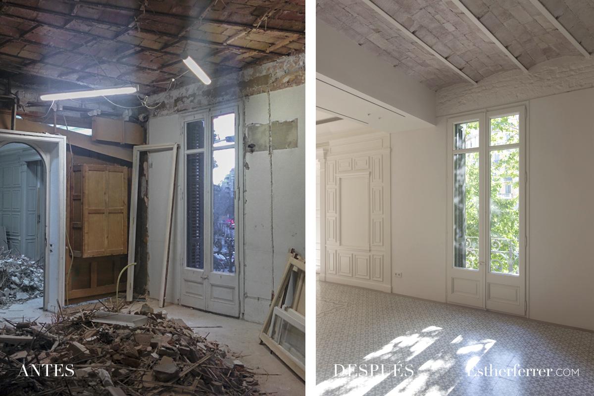 Reforma integral de piso modernista en l'Eixample. antes después sala. volta catalana