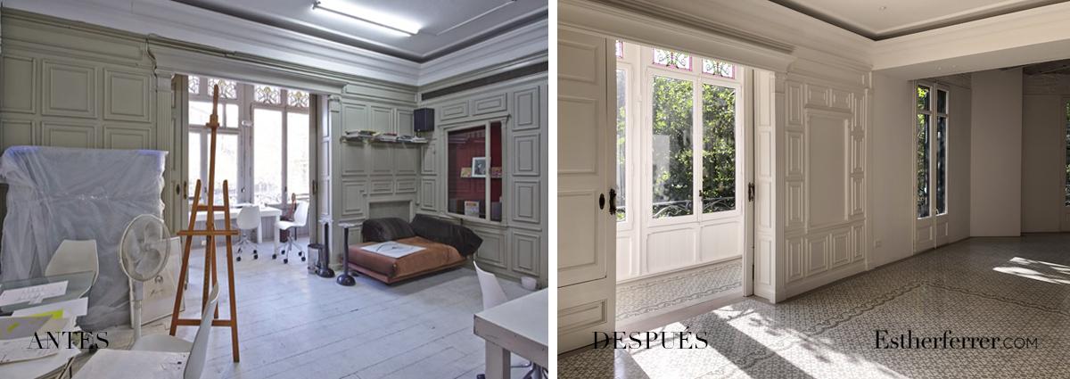 Reforma integral de piso modernista en l'Eixample. antes después sala y tribuna