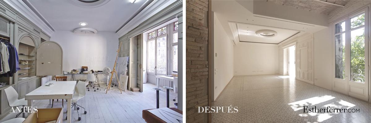Reforma integral de piso modernista en l'Eixample. antes después tribuna y molduras