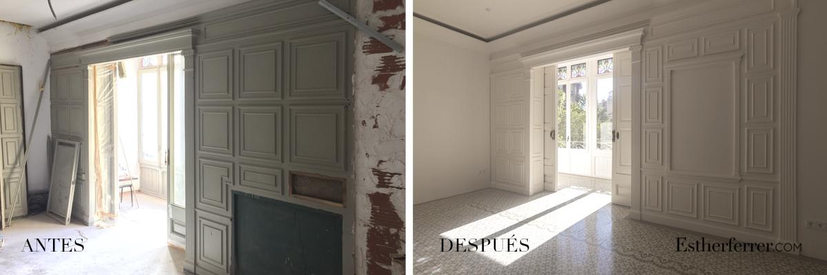 Reforma integral de piso modernista en l'Eixample. antes después mosaico hidraulico y tribuna