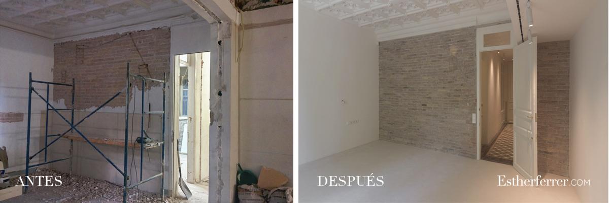 Reforma integral de piso modernista en l'Eixample. antes después dormitorio