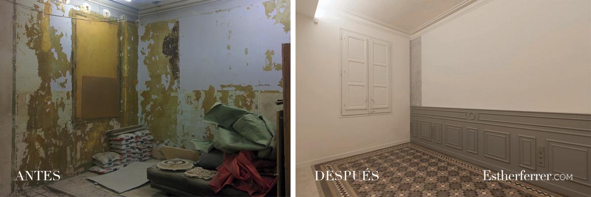 Reforma integral de piso modernista en l'Eixample. antes después dormitorio.