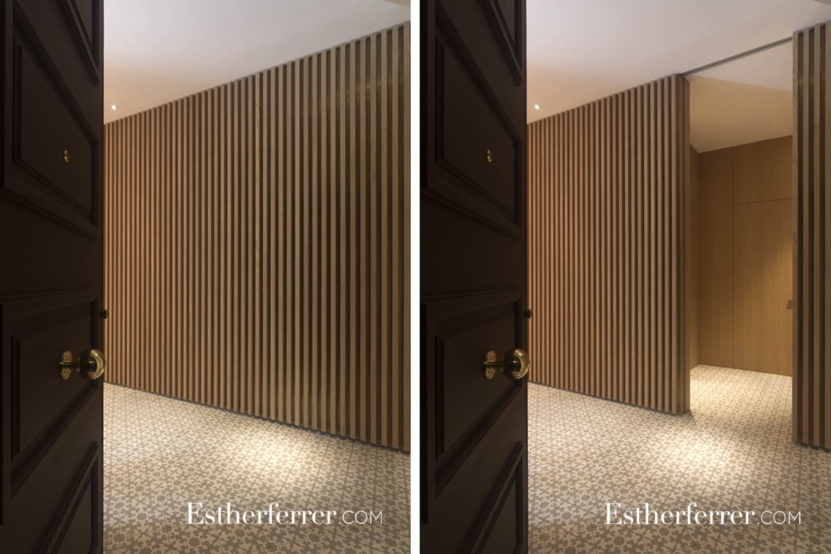 Reforma integral de piso modernista en l'Eixample. puertas escamoteables