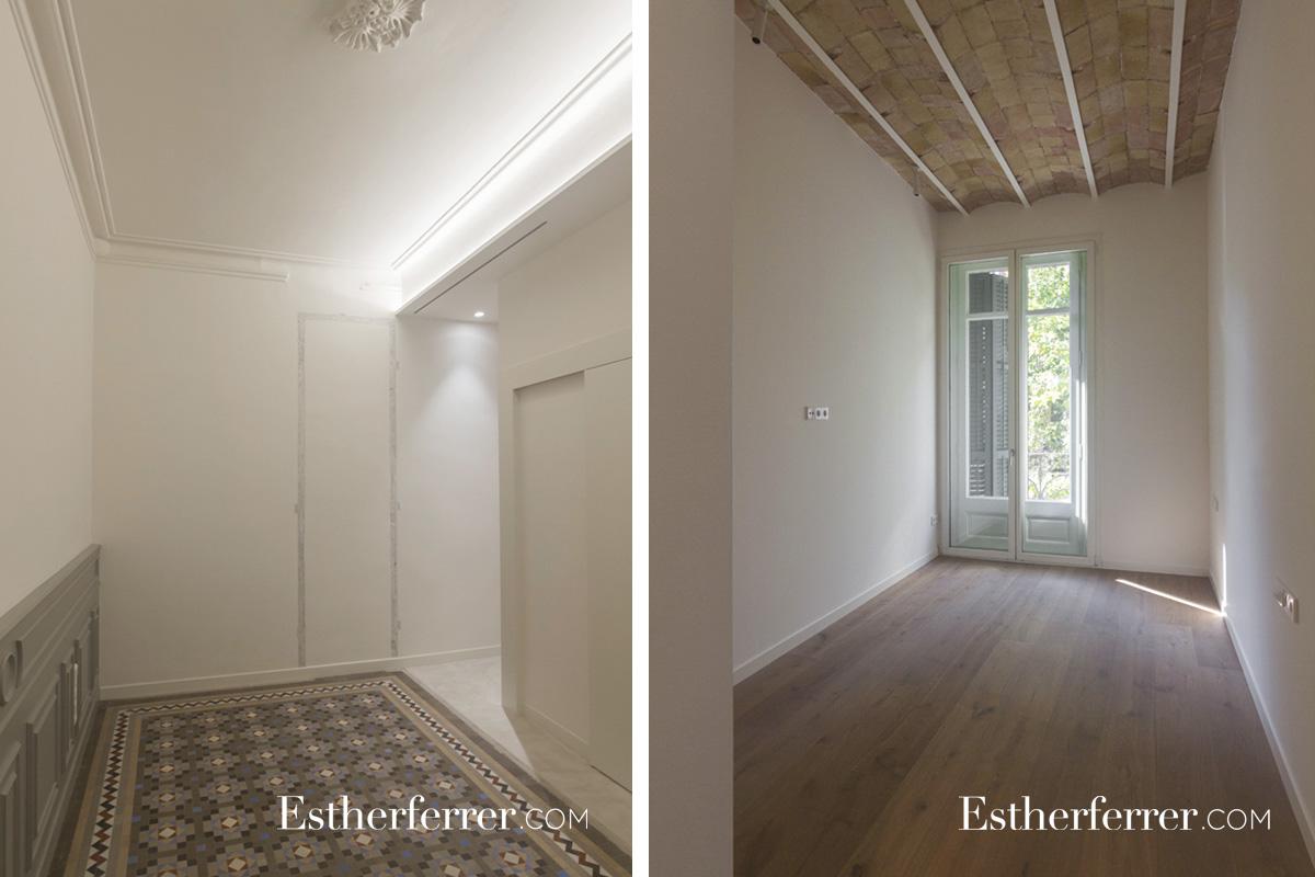 Reforma integral de piso modernista en l'Eixample. dormitorios, nolla, bóveda catalana