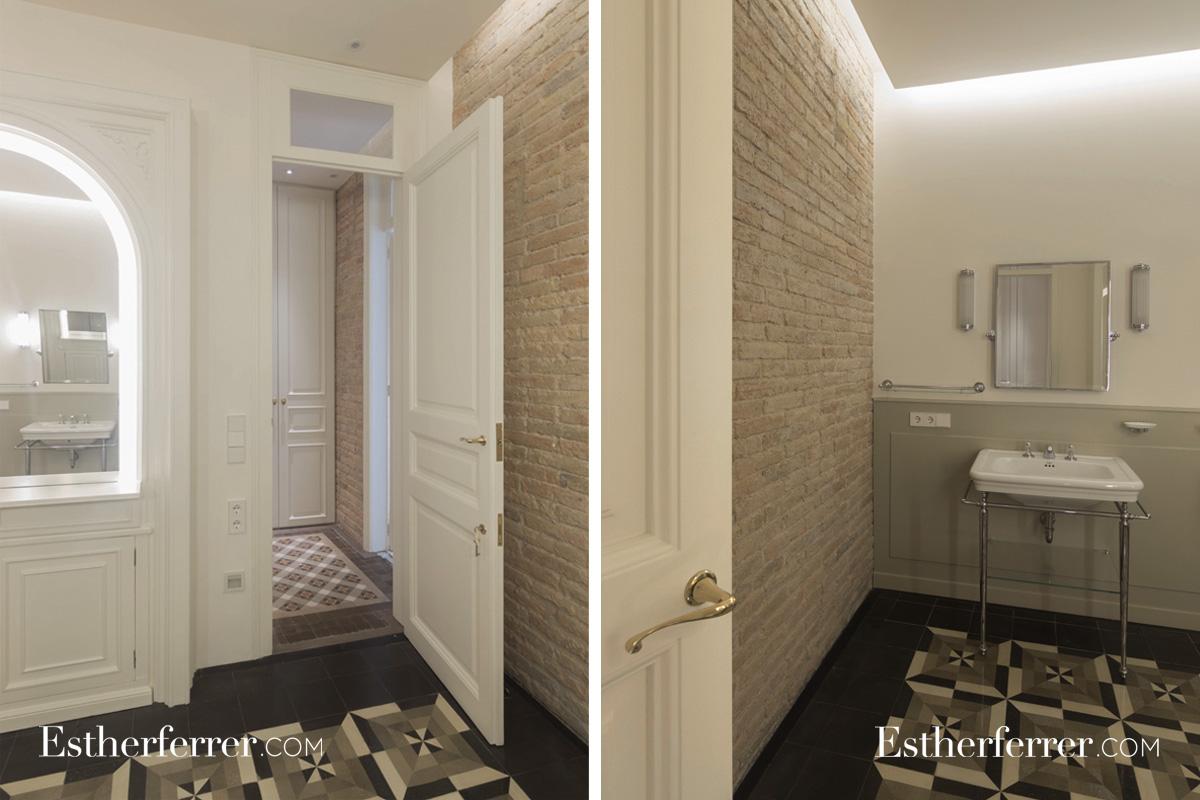 Reforma integral de piso modernista en l'Eixample. baño art-decó. Vintage
