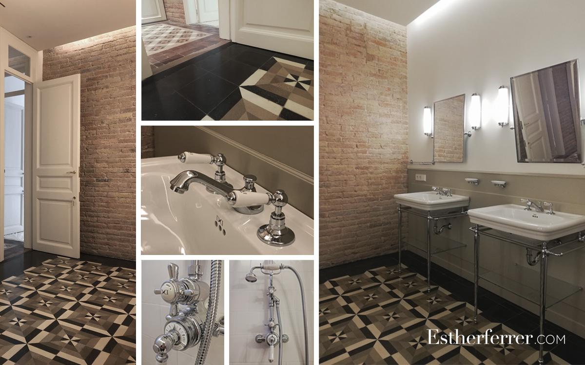 Reforma integral de piso modernista en l'Eixample. Baño clásico