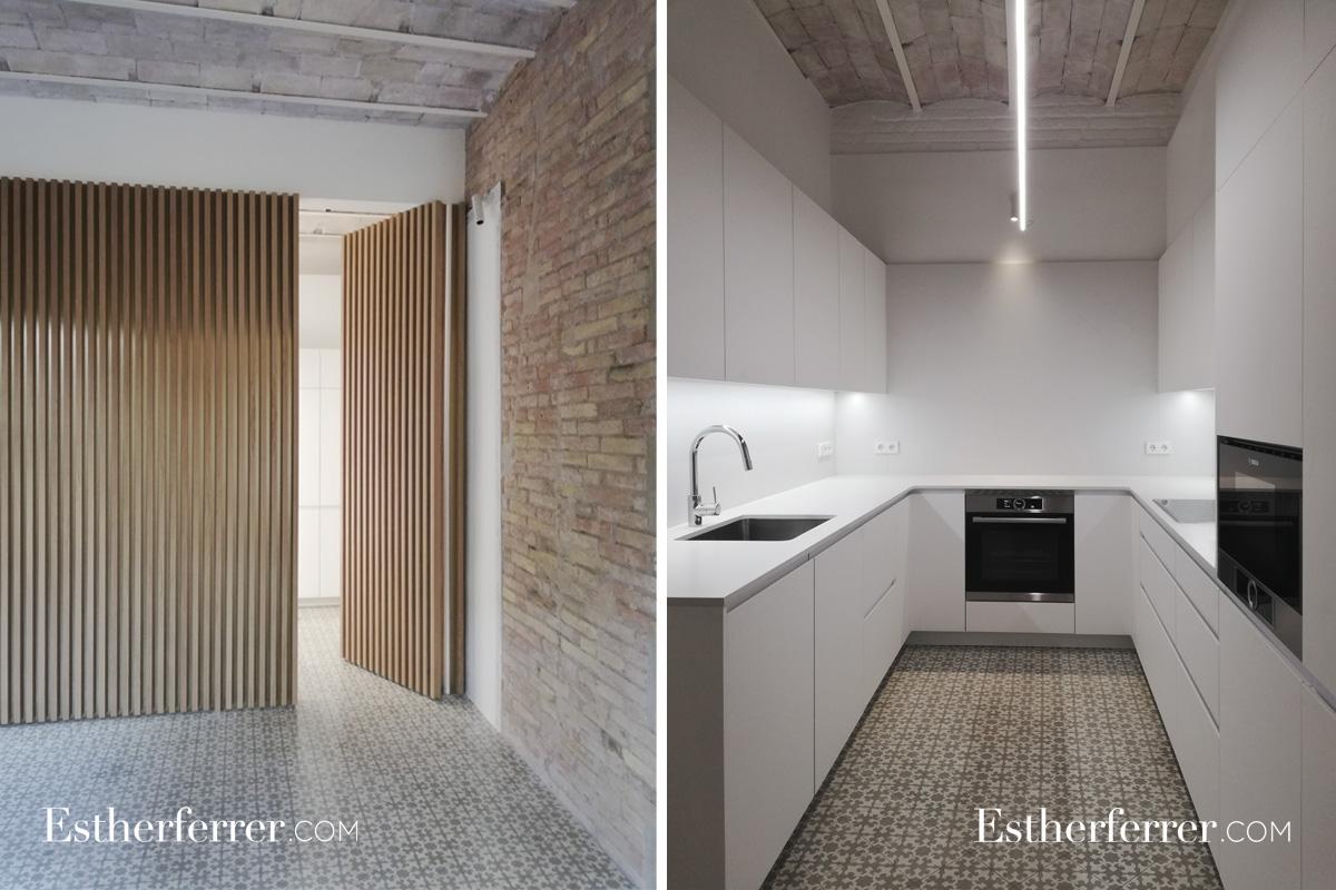 Reforma integral de piso modernista en l'Eixample. Cocina. Silestone
