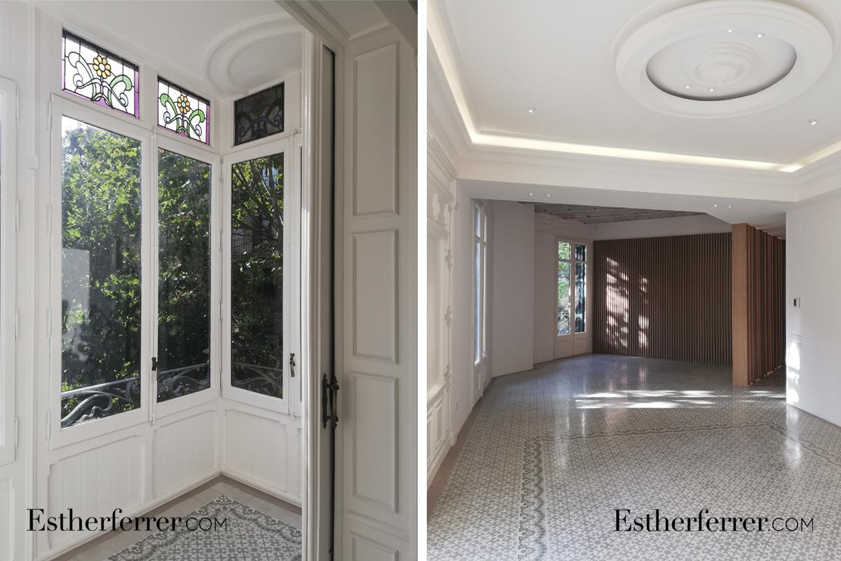 Reforma integral de piso modernista en l'Eixample. tribuna y vitrales. Cornisas