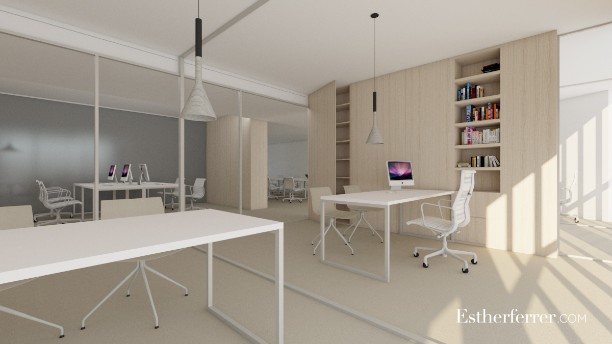 oficina en Barcelona. Render despachos de dirección