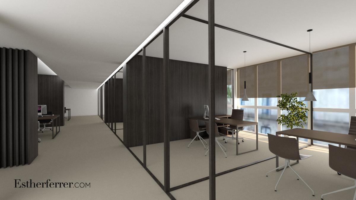 oficina en Barcelona. Render de zona de trabajo