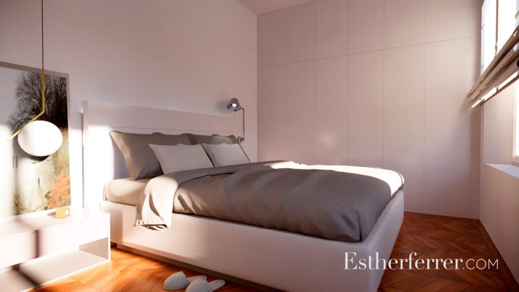 3 ideas para reformar tu casa tras el confinamiento: dormitorio con armario blanco empotrado