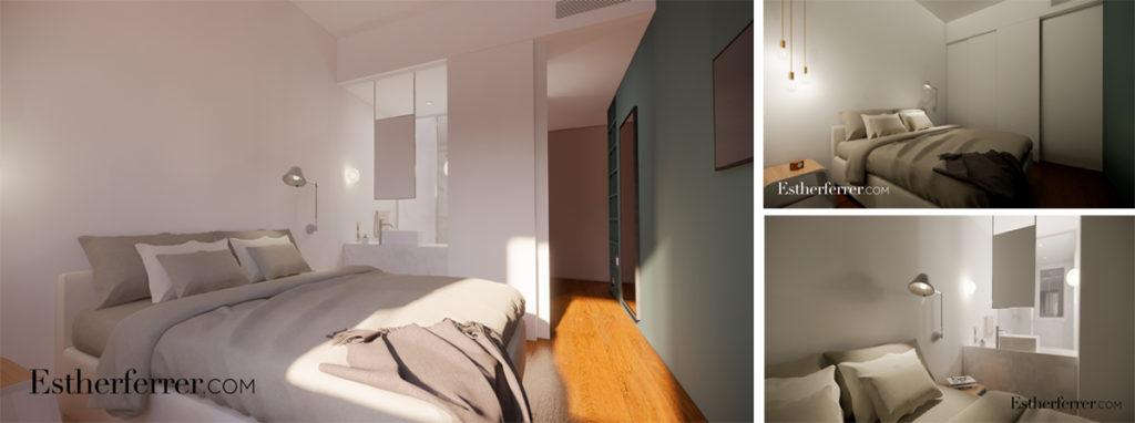 3 ideas para reformar tu casa tras el confinamiento: baño abierto al dormitorio con correderas