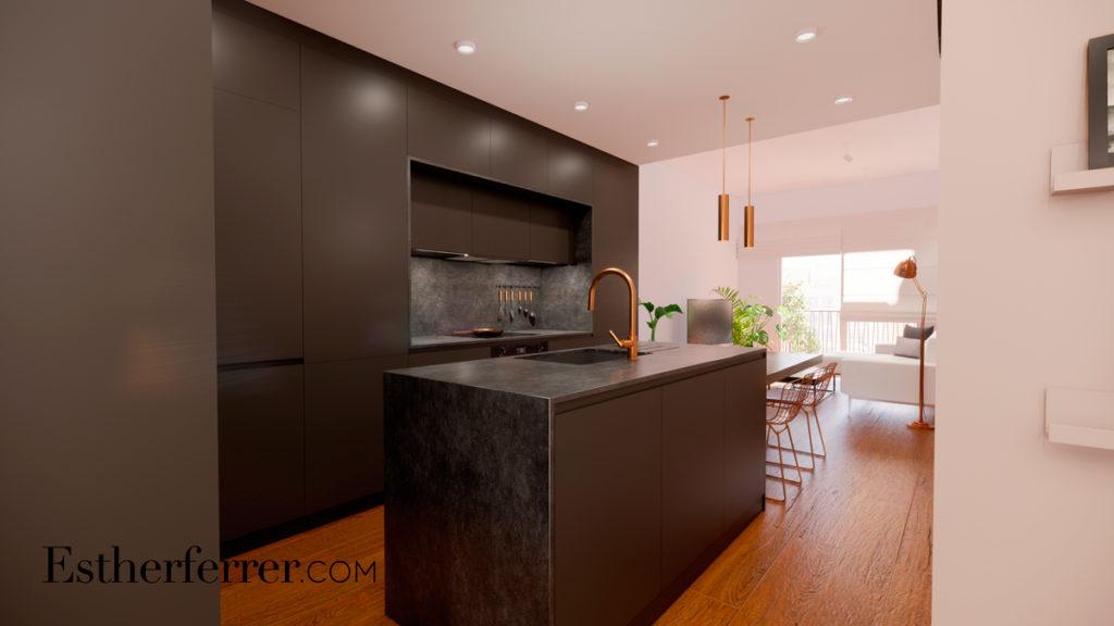 3 ideas para reformar tu casa tras el confinamiento: cocina abierta negra