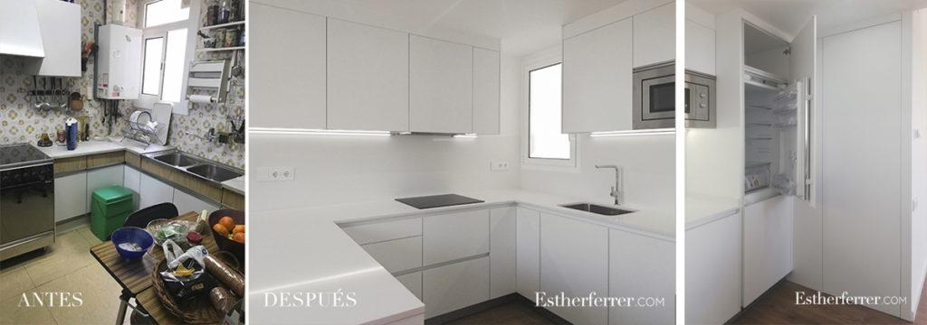 3 ideas para reformar tu casa tras el confinamiento: antes después de cocina blanca