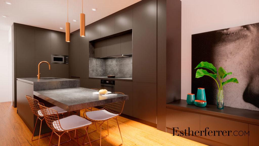 3 ideas para reformar tu casa tras el confinamiento: cocina abierta negra y mesa de comedor