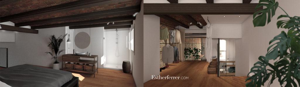 3 ideas para reformar tu casa tras el confinamiento: baño y vestidor abierto a la habitación