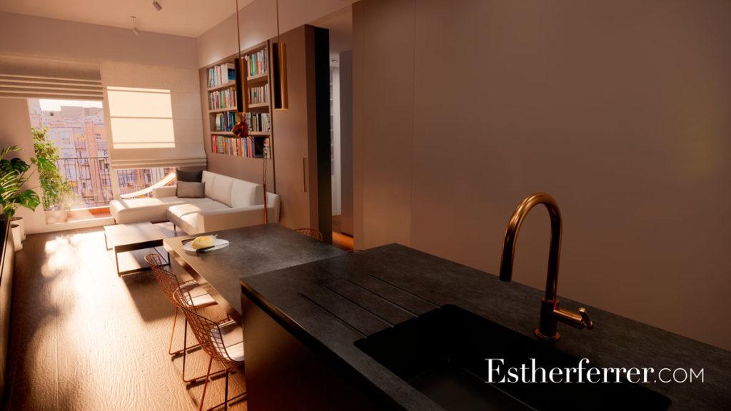3 ideas para reformar tu casa tras el confinamiento: sala y cocina abierta con luz de tarde