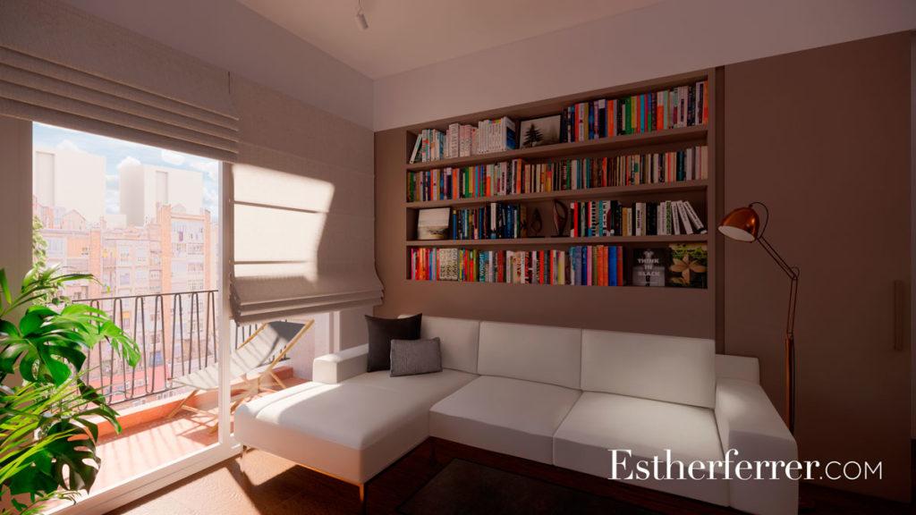 deas para reformar tu casa tras el confinamiento: sala con balcón y zona de lectura